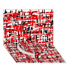 Red, white and black pattern Circle Bottom 3D Greeting Card (7x5)
