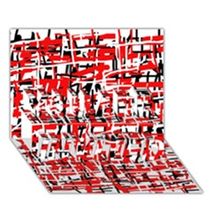 Red, white and black pattern YOU ARE INVITED 3D Greeting Card (7x5)