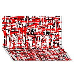 Red, white and black pattern BEST SIS 3D Greeting Card (8x4)