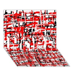 Red, white and black pattern HOPE 3D Greeting Card (7x5)