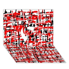 Red, white and black pattern Ribbon 3D Greeting Card (7x5)