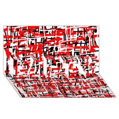 Red, white and black pattern PARTY 3D Greeting Card (8x4)