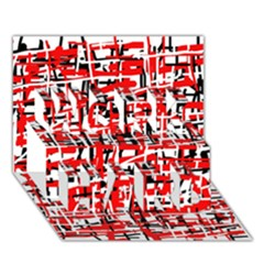 Red, white and black pattern WORK HARD 3D Greeting Card (7x5)
