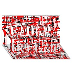 Red, White And Black Pattern Laugh Live Love 3d Greeting Card (8x4)