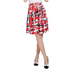 Red, white and black pattern A-Line Skirt
