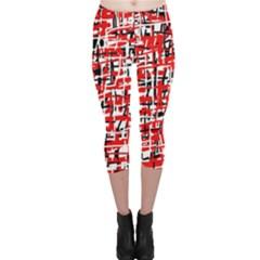 Red, white and black pattern Capri Leggings