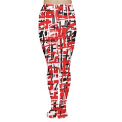 Red, white and black pattern Women s Tights