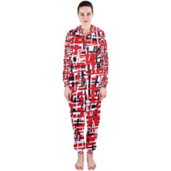 Red, white and black pattern Hooded Jumpsuit (Ladies)