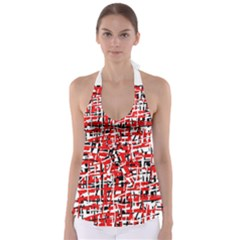 Red, white and black pattern Babydoll Tankini Top