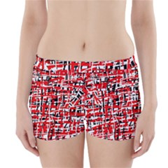 Red, white and black pattern Boyleg Bikini Wrap Bottoms