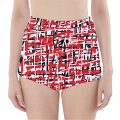 Red, white and black pattern High-Waisted Bikini Bottoms