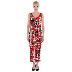 Red, white and black pattern Fitted Maxi Dress