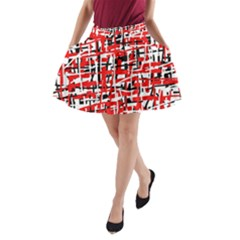 Red, white and black pattern A-Line Pocket Skirt