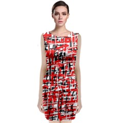 Red, white and black pattern Classic Sleeveless Midi Dress