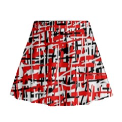 Red, white and black pattern Mini Flare Skirt