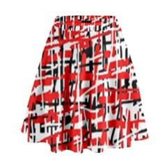 Red, white and black pattern High Waist Skirt