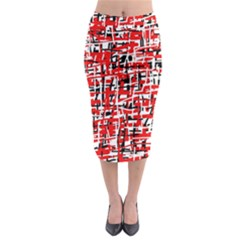 Red, white and black pattern Midi Pencil Skirt