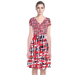 Red, white and black pattern Short Sleeve Front Wrap Dress
