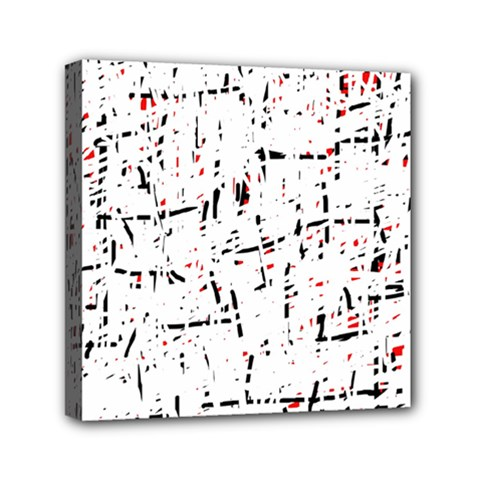 red, white and black pattern Mini Canvas 6  x 6