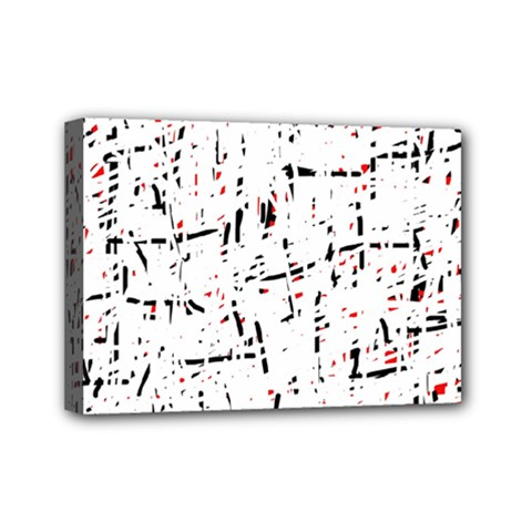 red, white and black pattern Mini Canvas 7  x 5