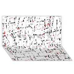 red, white and black pattern HUGS 3D Greeting Card (8x4)