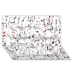 red, white and black pattern Best Wish 3D Greeting Card (8x4)
