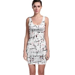 red, white and black pattern Sleeveless Bodycon Dress