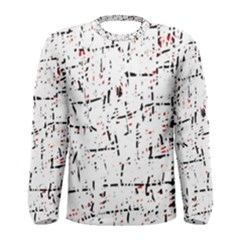 red, white and black pattern Men s Long Sleeve Tee