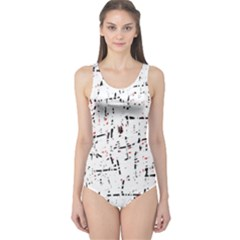 red, white and black pattern One Piece Swimsuit