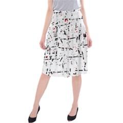 red, white and black pattern Midi Beach Skirt