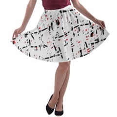 red, white and black pattern A-line Skater Skirt