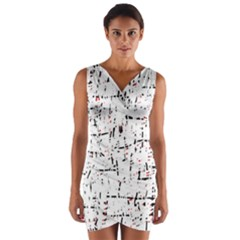 red, white and black pattern Wrap Front Bodycon Dress