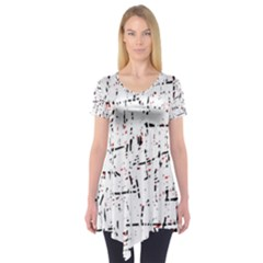 Red, White And Black Pattern Short Sleeve Tunic
