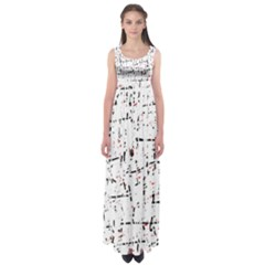 red, white and black pattern Empire Waist Maxi Dress