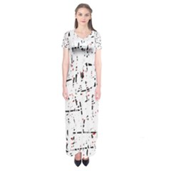 Red, White And Black Pattern Short Sleeve Maxi Dress