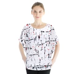 red, white and black pattern Batwing Chiffon Blouse