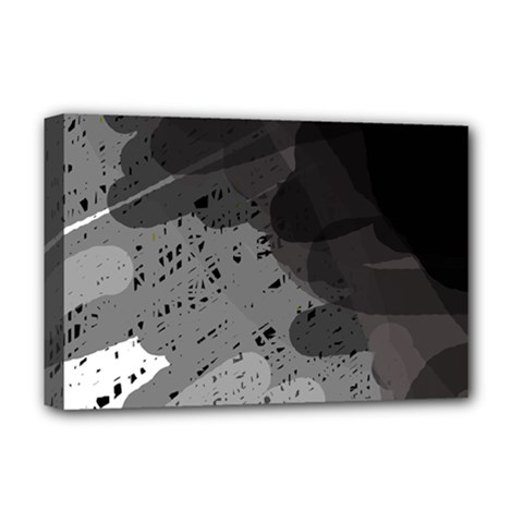 Black and gray pattern Deluxe Canvas 18  x 12