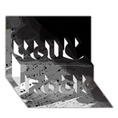 Black and gray pattern You Rock 3D Greeting Card (7x5)