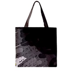 Black and gray pattern Zipper Grocery Tote Bag