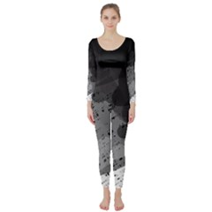 Black and gray pattern Long Sleeve Catsuit