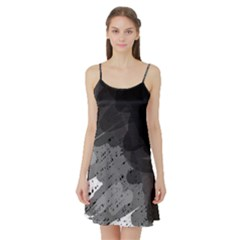 Black and gray pattern Satin Night Slip