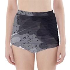 Black and gray pattern High-Waisted Bikini Bottoms
