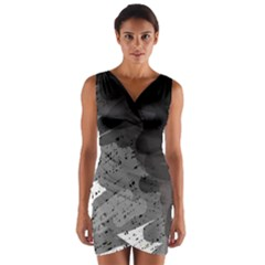 Black and gray pattern Wrap Front Bodycon Dress