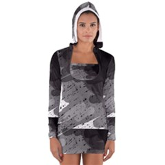 Black and gray pattern Women s Long Sleeve Hooded T-shirt