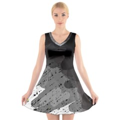 Black And Gray Pattern V Neck Sleeveless Skater Dress