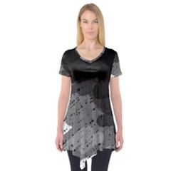 Black and gray pattern Short Sleeve Tunic