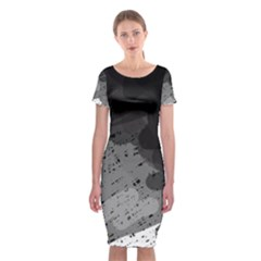 Black and gray pattern Classic Short Sleeve Midi Dress