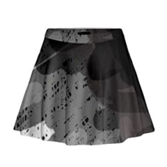 Black and gray pattern Mini Flare Skirt