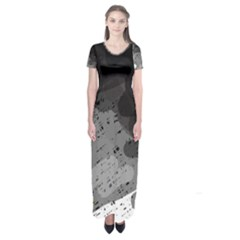 Black and gray pattern Short Sleeve Maxi Dress