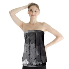 Black And Gray Pattern Strapless Top